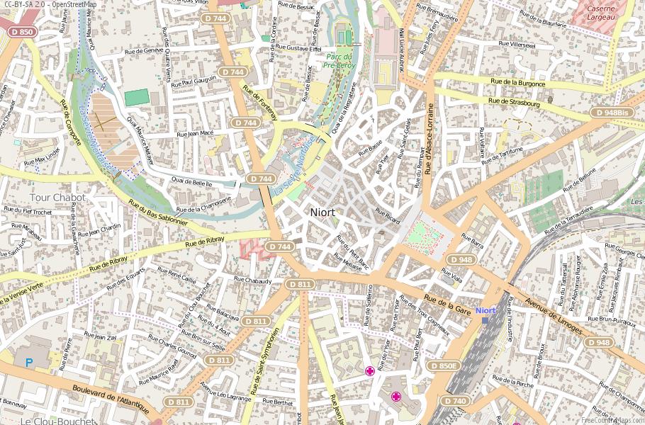 Niort Map France Latitude Longitude Free France Maps