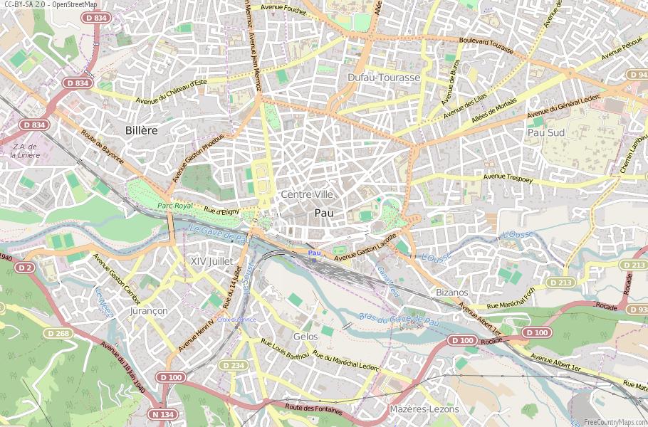 Pau Map France Latitude Longitude Free France Maps