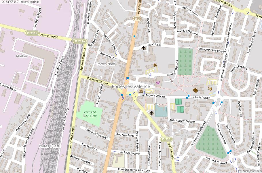 PorteslsValence Map France Latitude Longitude Free France Maps