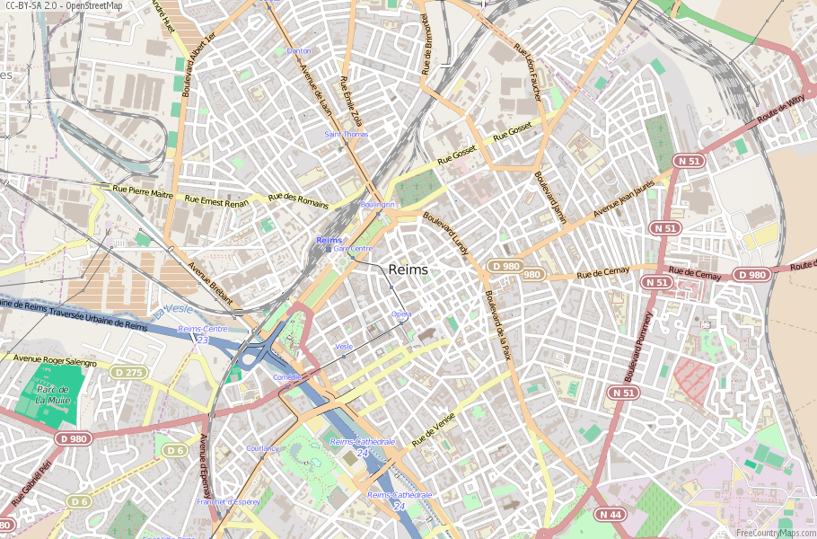 Reims Map France Latitude & Longitude: Free Maps