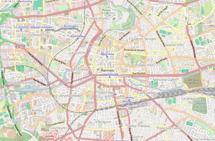 Rennes Map France Latitude Longitude Free France Maps - Latitude and longitude of france