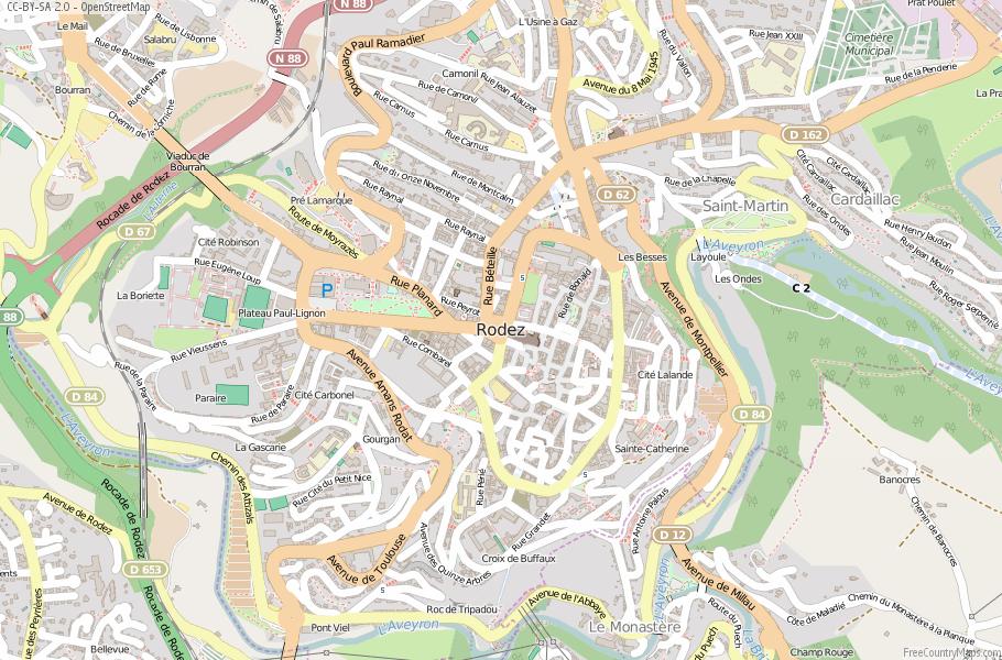 Rodez Map France Latitude Longitude Free France Maps