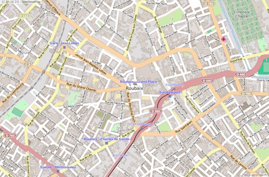 Roubaix Map France Latitude Longitude Free France Maps