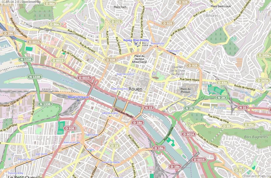 Rouen Map France Latitude & Longitude: Free Maps