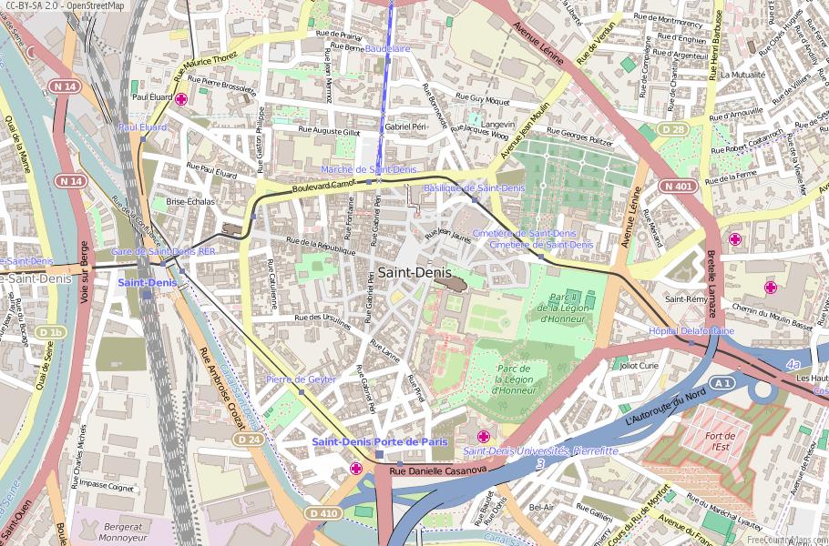 Saint-Denis France Map