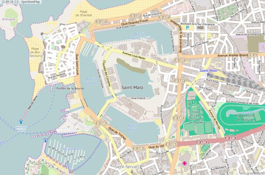 SaintMalo Map France Latitude Longitude Free France Maps
