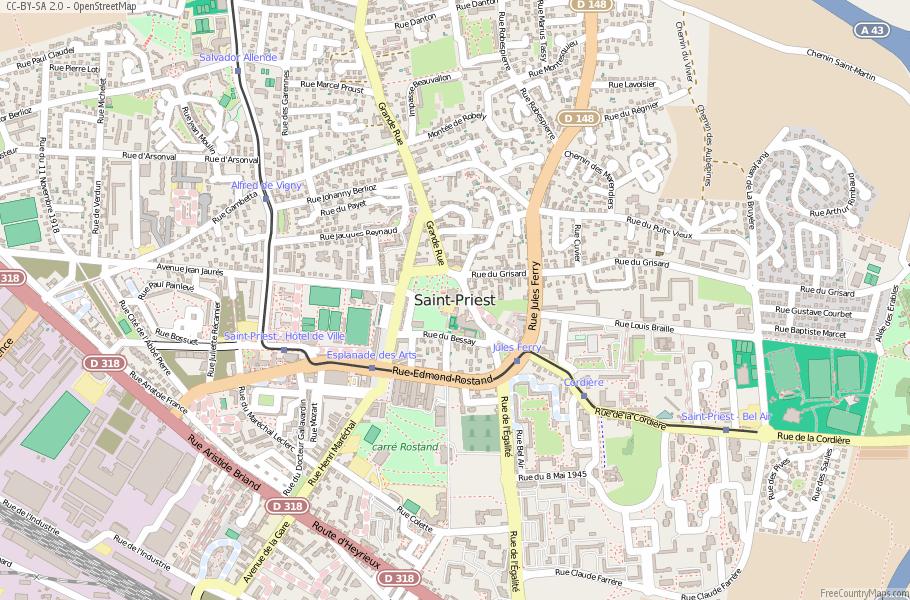 Saint-Priest France Map