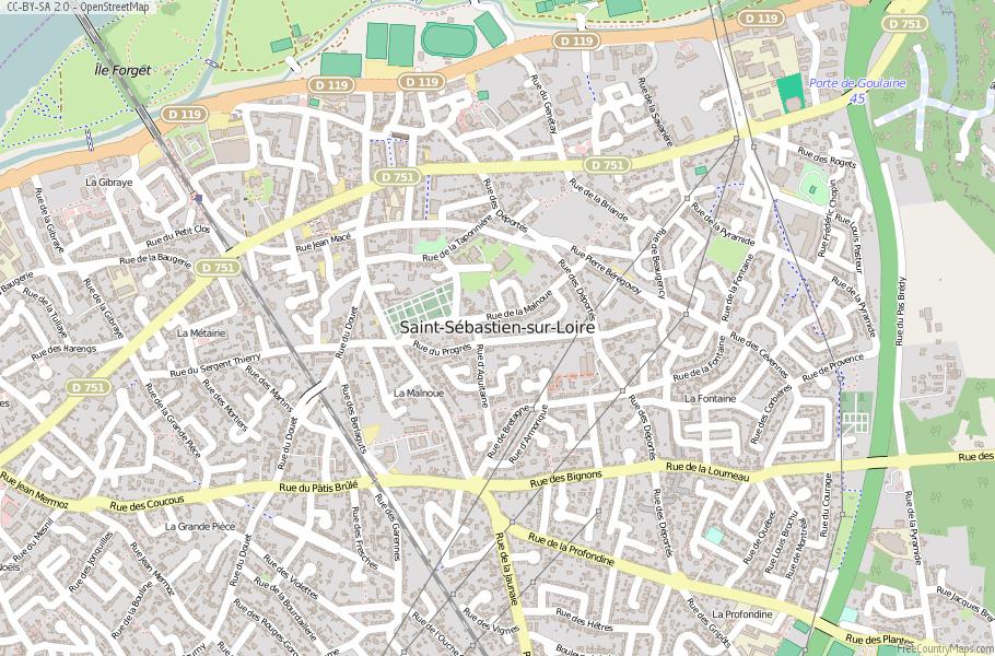 Saint-Sébastien-sur-Loire France Map