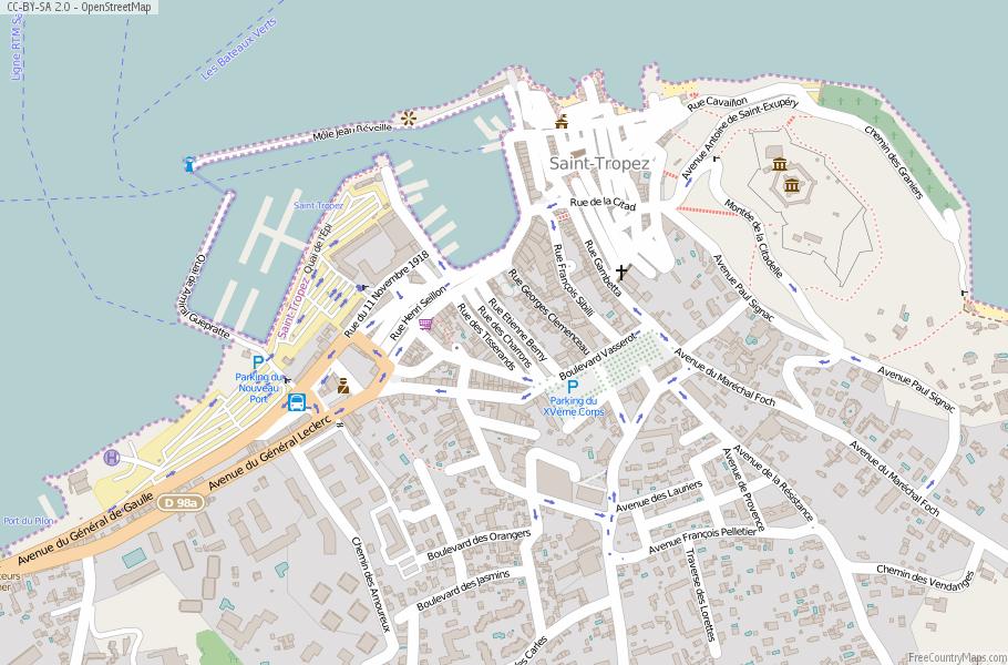Saint Tropez Map France Latitude Longitude Free Maps