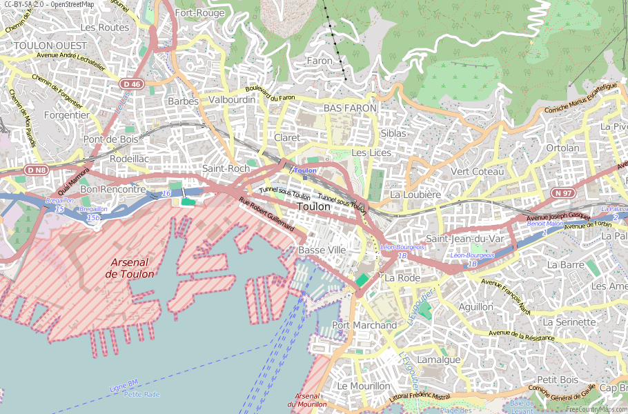 Toulon Map France Latitude & Longitude: Free Maps