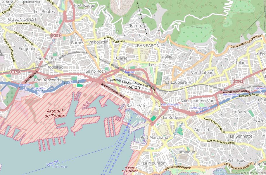 Toulon Map France Latitude Longitude Free France Maps