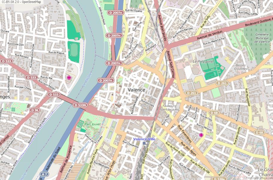 Valence Map France Latitude Longitude Free France Maps