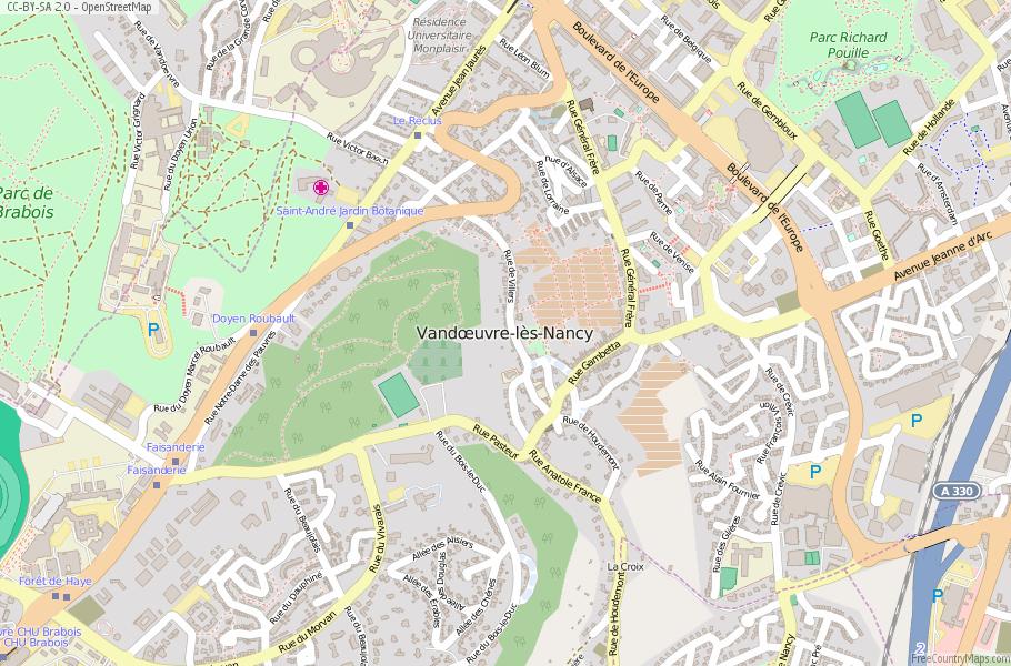 VanduvrelsNancy Map France Latitude Longitude Free France Maps