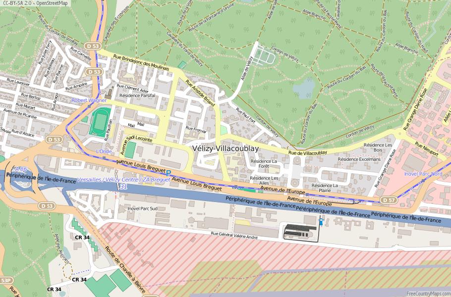 Vélizy-Villacoublay France Map