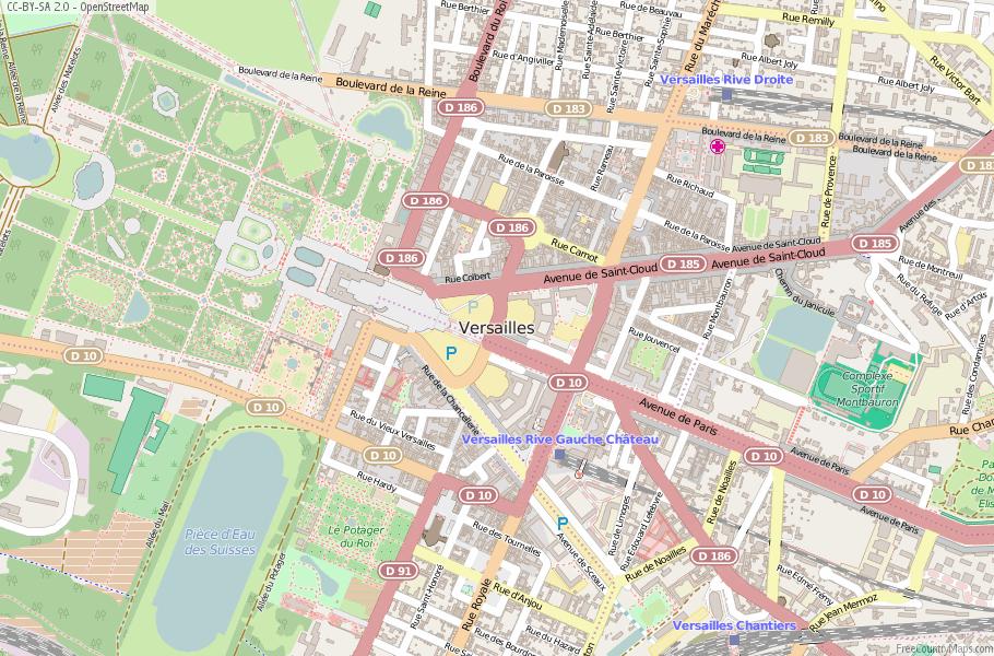 Versailles Map France Latitude Longitude Free France Maps