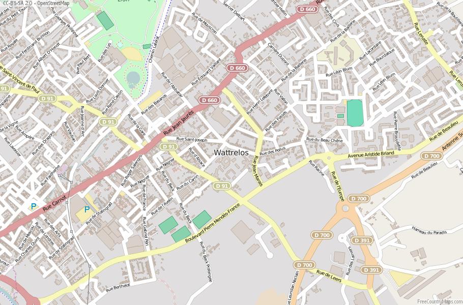 Wattrelos France Map