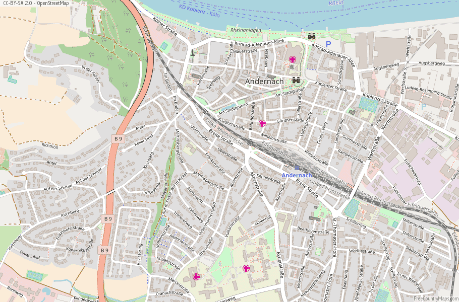 Andernach Germany Map