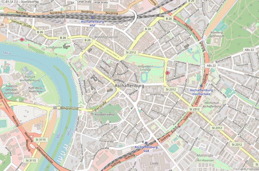 Aschaffenburg Germany Map