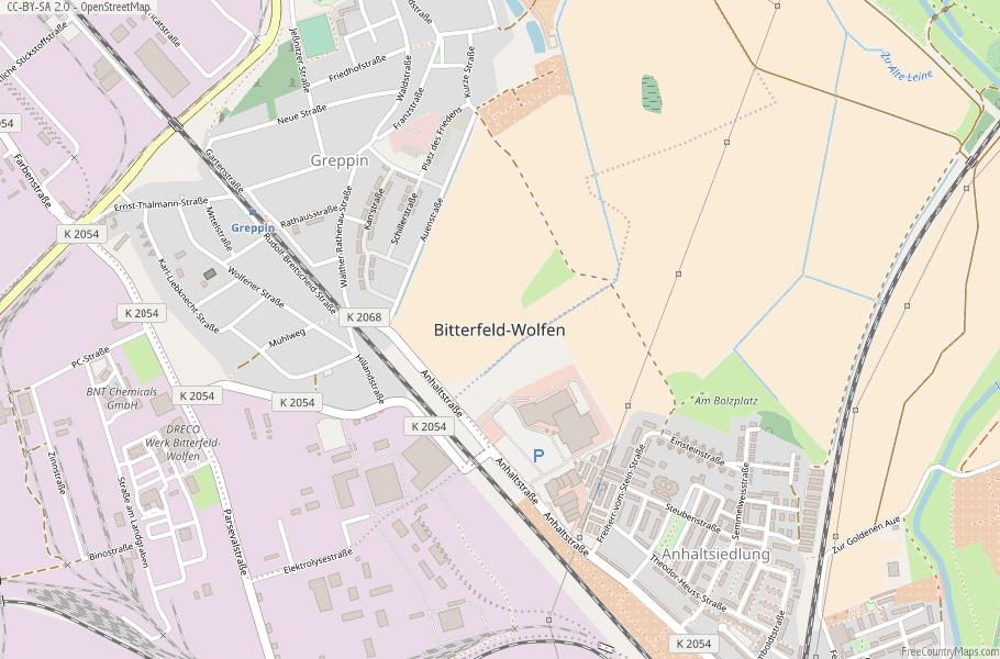 Bitterfeld-Wolfen Germany Map