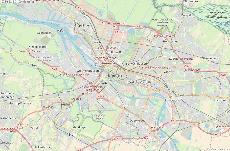 Bremen Map Germany Latitude & Longitude: Free Maps