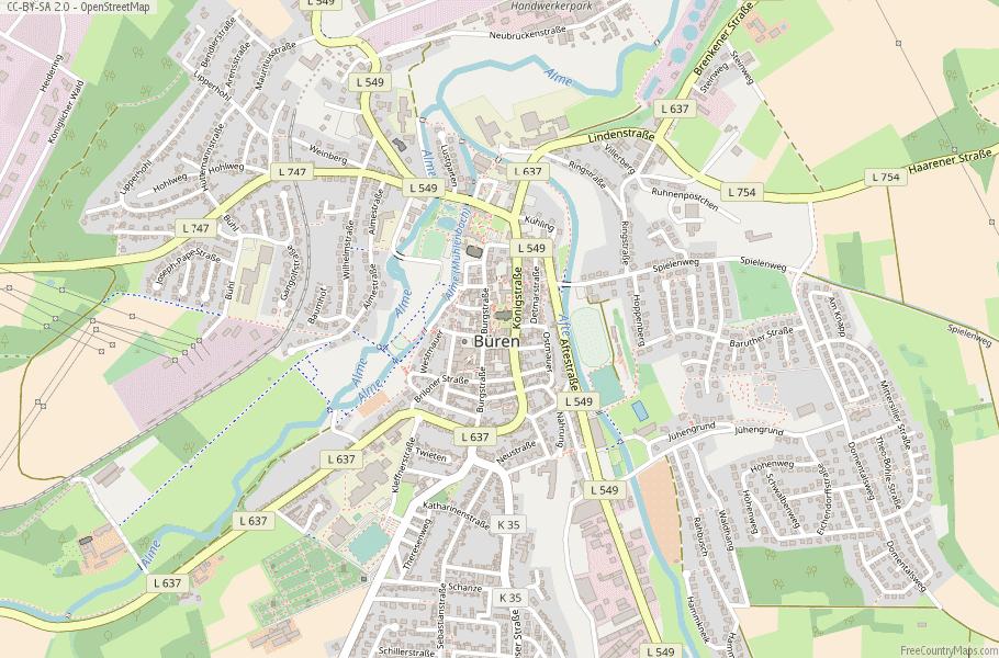 Büren Germany Map