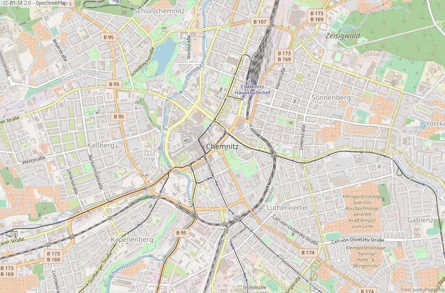 Chemnitz Germany Map