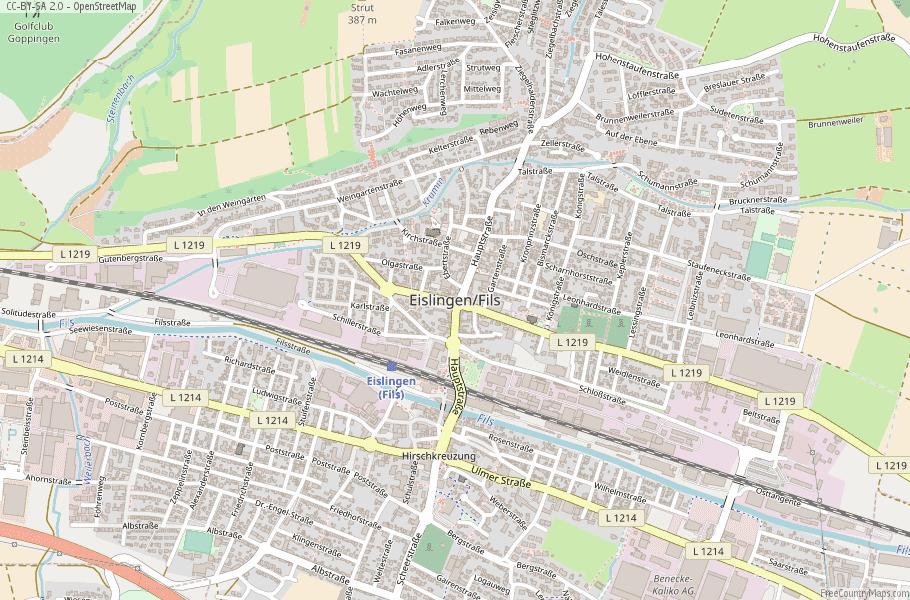 Eislingen/Fils Germany Map
