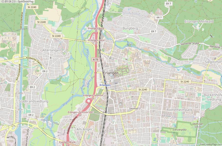 Map Of Germany Erlangen.Erlangen Map Germany Latitude Longitude Free Maps