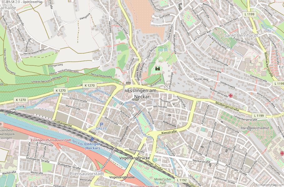 Esslingen am Neckar Germany Map