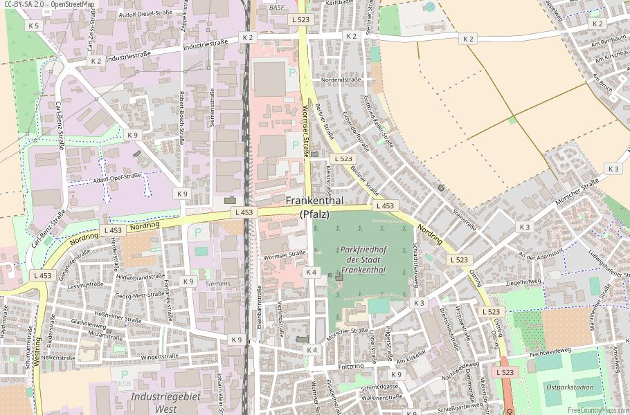 Frankenthal (Pfalz) Germany Map