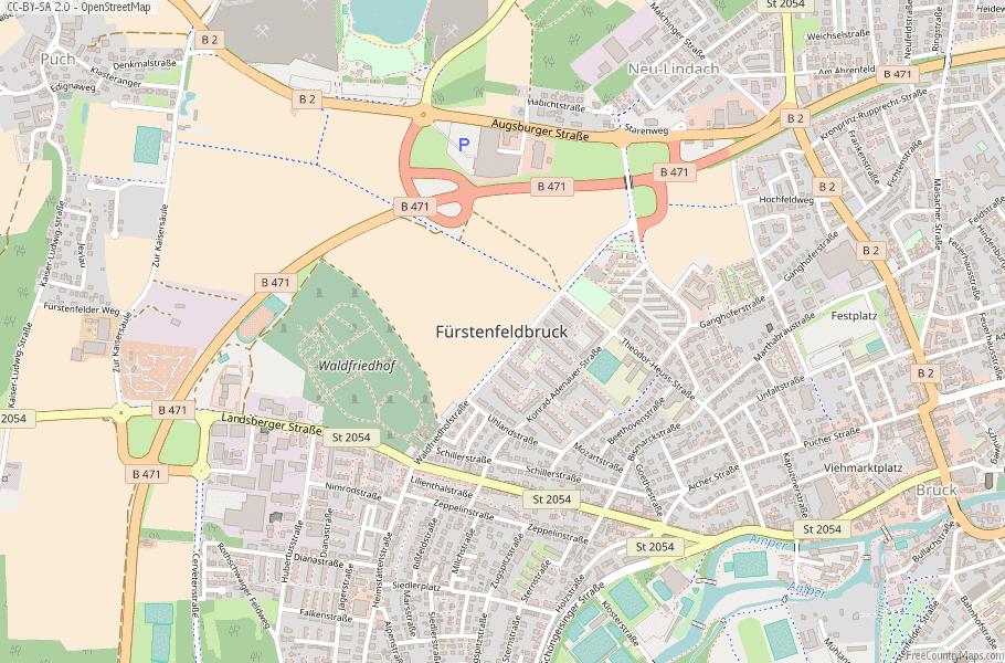 Fürstenfeldbruck Germany Map