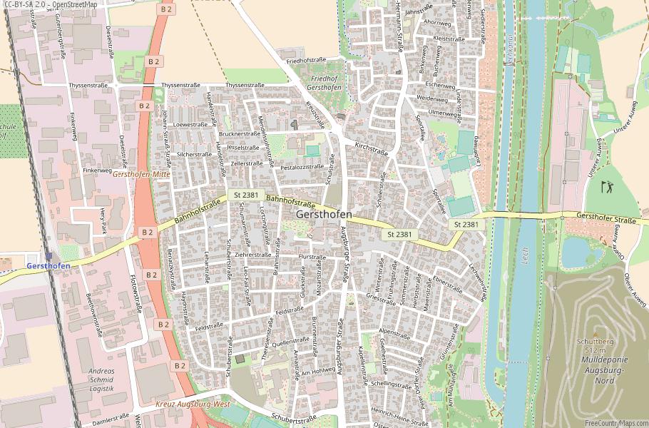 Gersthofen Germany Map