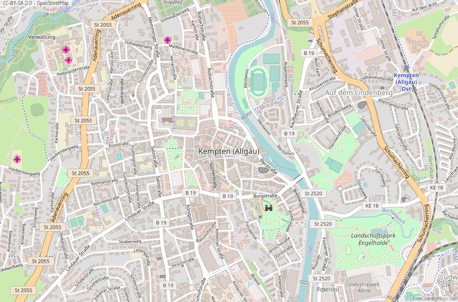 Kempten (Allgäu) Germany Map