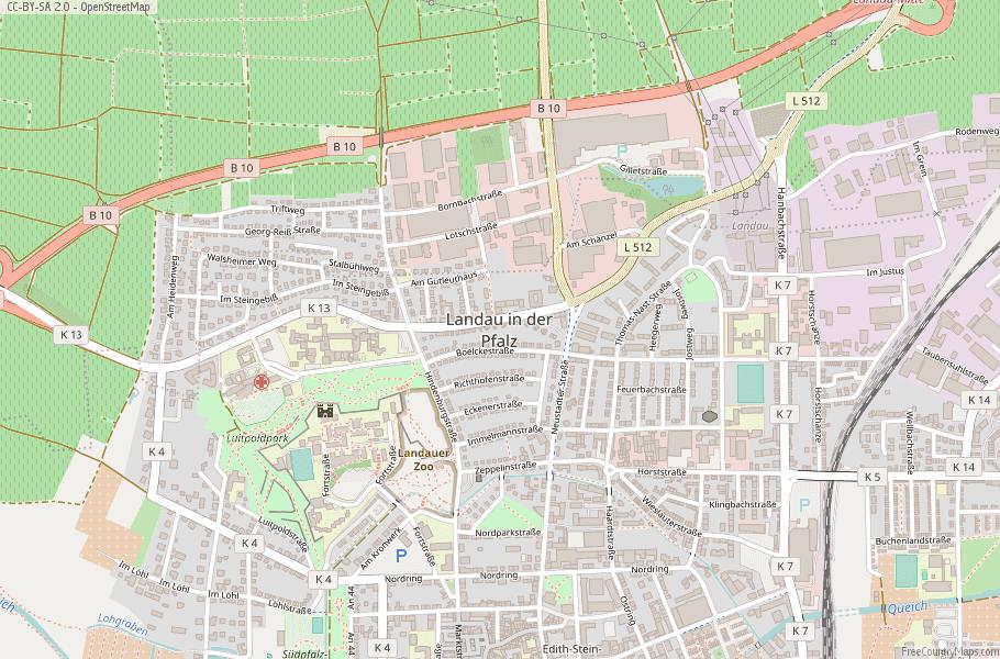Landau in der Pfalz Germany Map