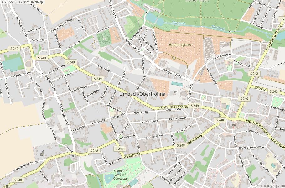 Limbach-Oberfrohna Germany Map