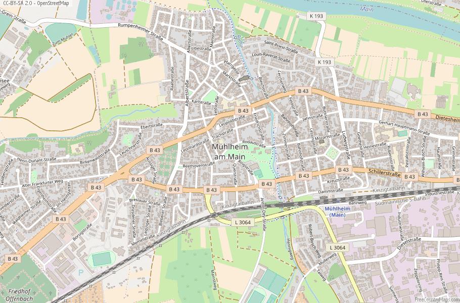 Mühlheim am Main Germany Map