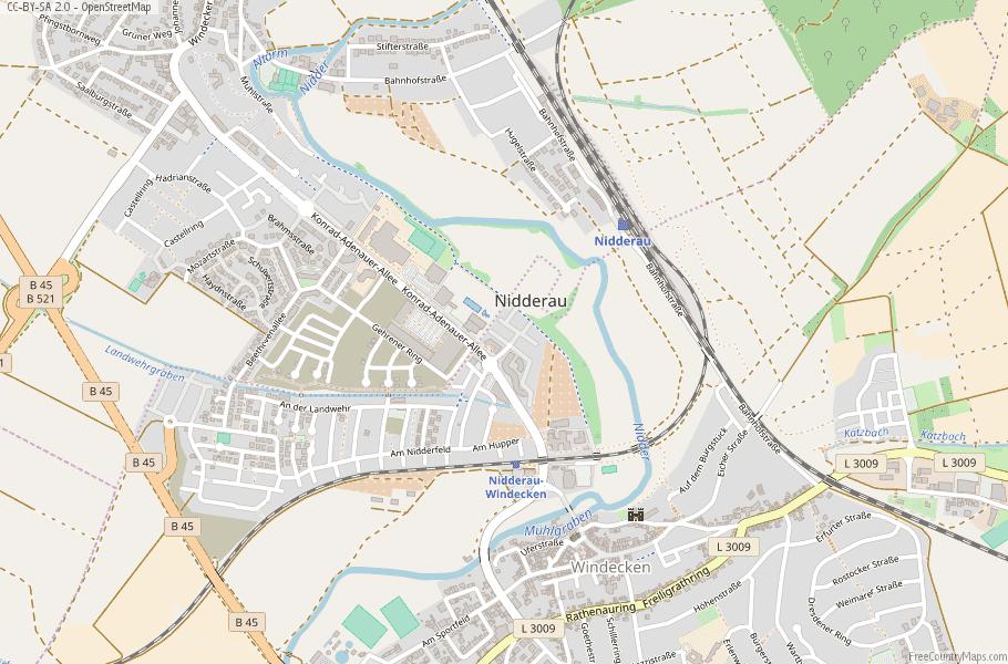 Nidderau Germany Map