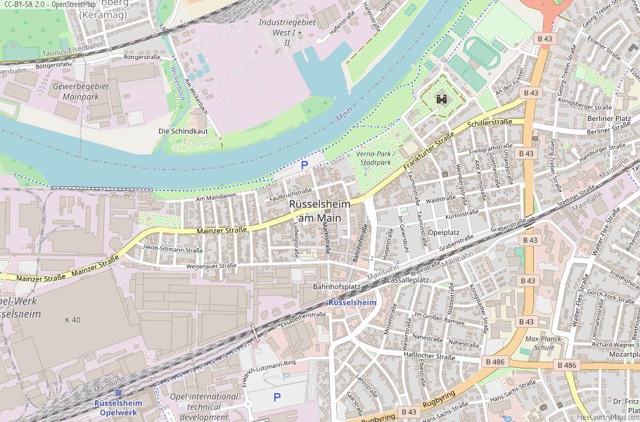 Rüsselsheim Germany Map