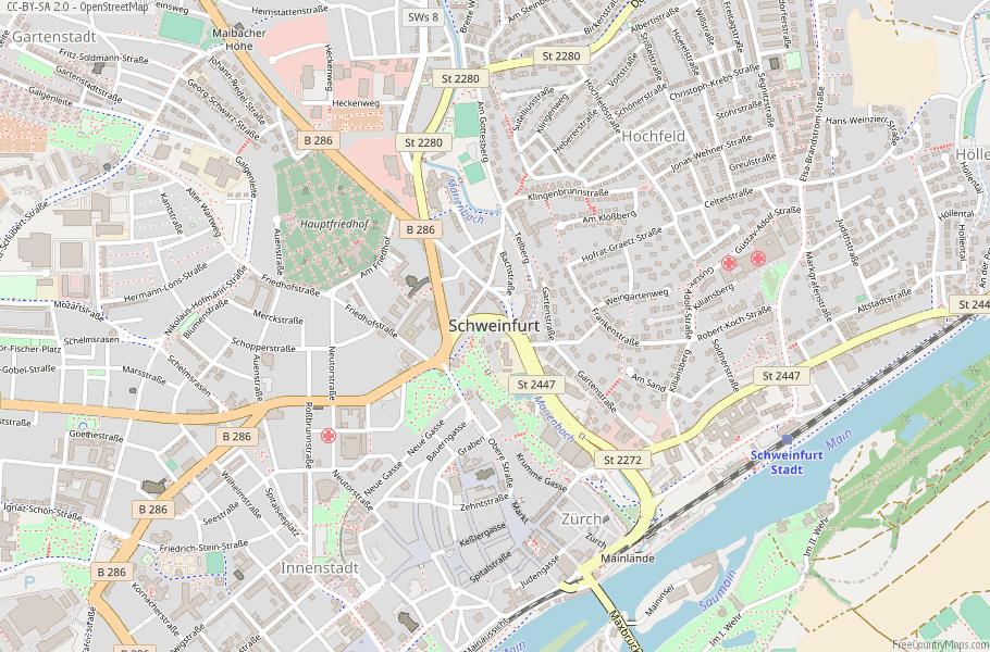 Schweinfurt Map Germany Latitude Longitude Free Maps
