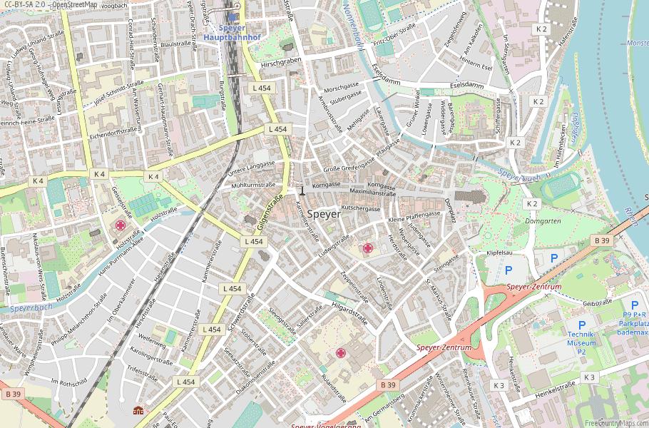 Speyer Map Germany Latitude Longitude Free Maps