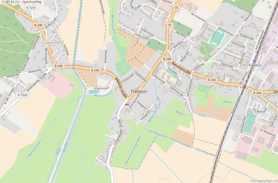 Trebbin Germany Map