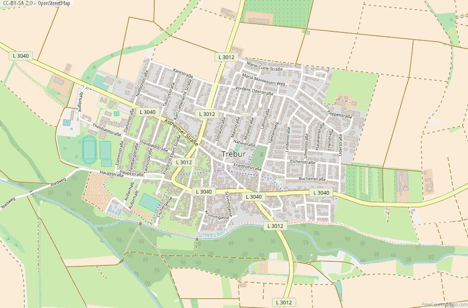 Trebur Germany Map
