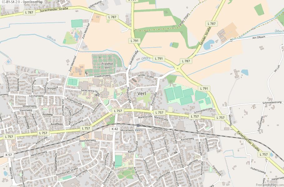 Verl Map Germany Latitude & Longitude: Free Maps