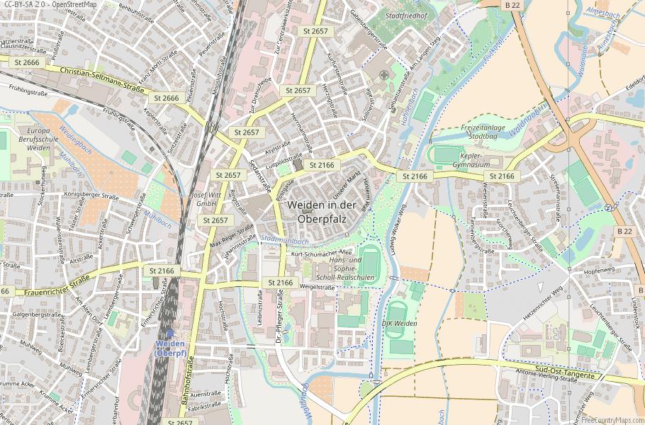 Weiden in der Oberpfalz Germany Map