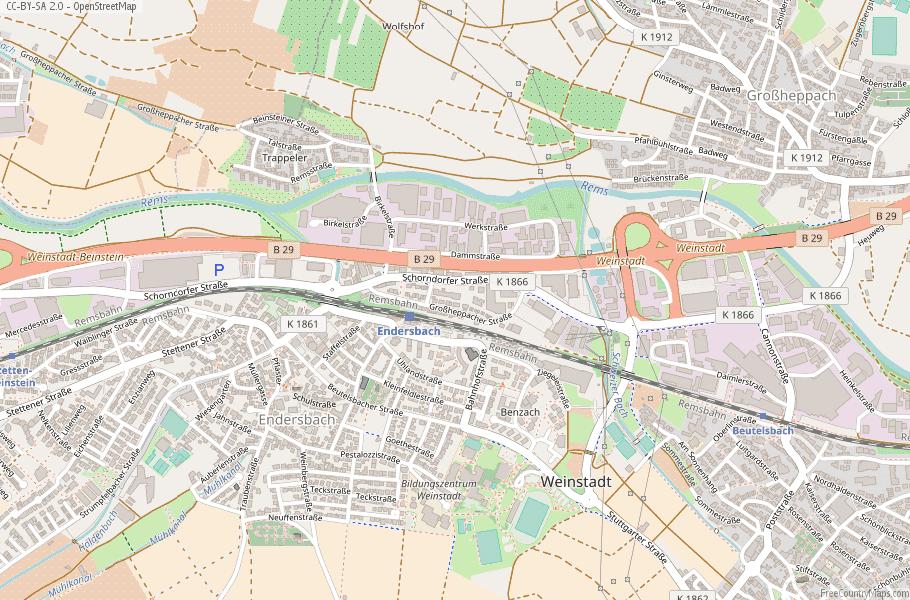 Weinstadt Germany Map