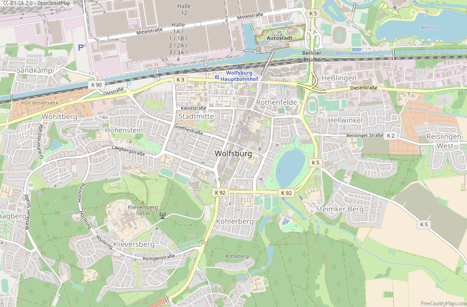 Wolfsburg Germany Map