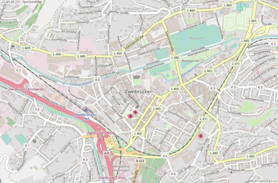 Zweibrücken Germany Map