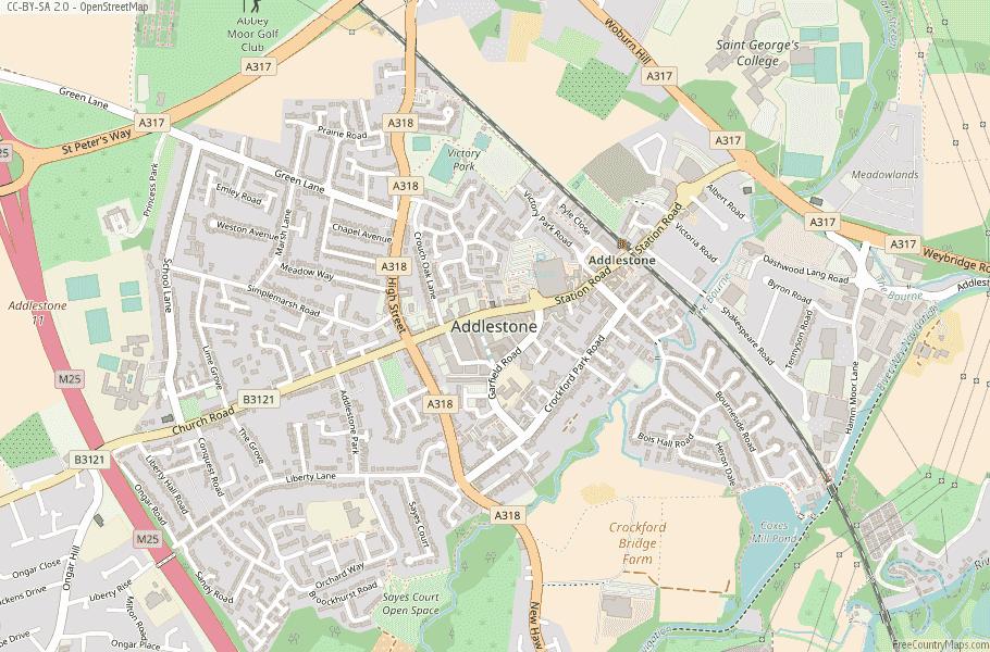 Addlestone England Map