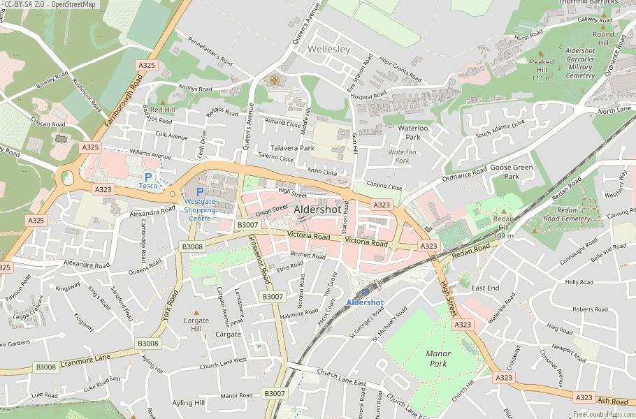 Aldershot England Map