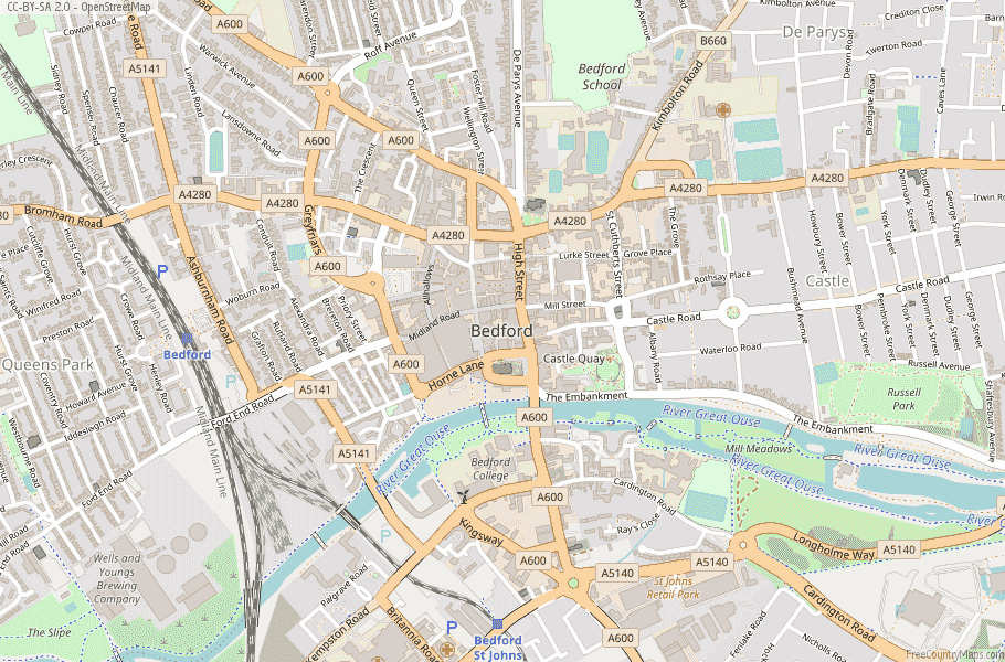 Bedford England Map